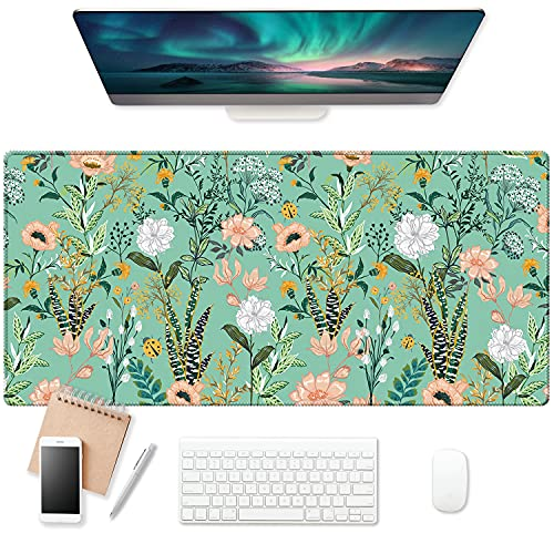 EkuaBot Floral Flower Large Gaming Mouse Pad (35.4×15.7 in, 3mm Thick), Non-Slip Rubber Base and Reinforced Lock Edges, XXL Extended Mousepad for Work, Game, Desktop Decoration
