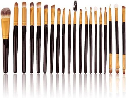 NAKEDPLUS 20 Kabuki Powder Cosmetic Foundation Contour Face Eye Make Up (Black and Gold)