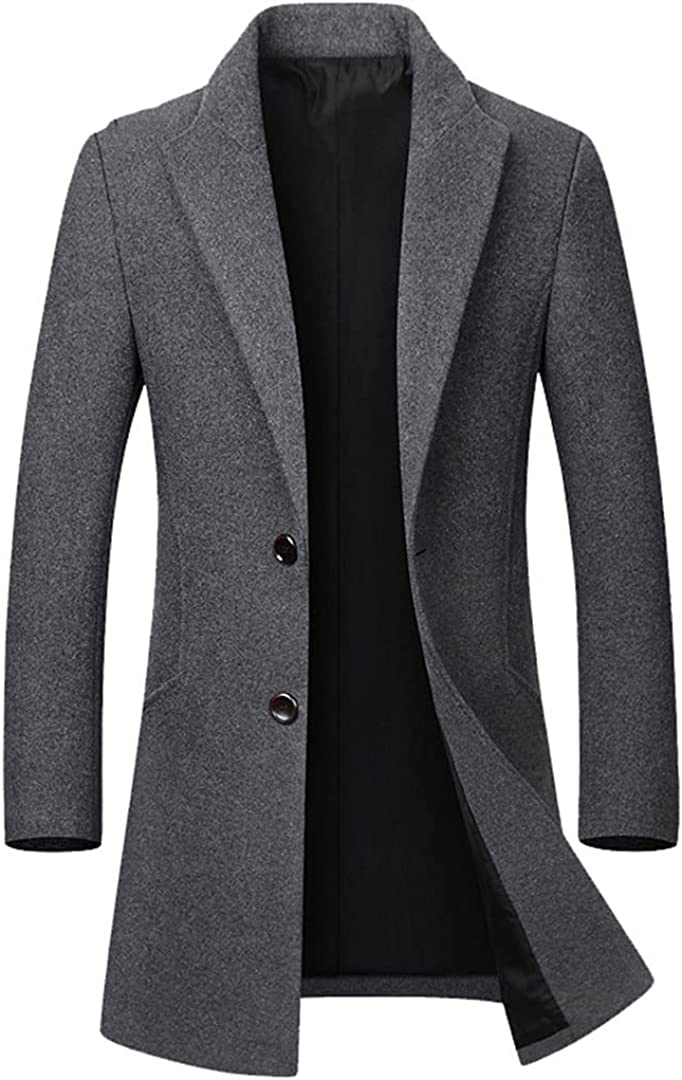 Mens Wool Blend Coat Autumn Winter Solid Color Warm Wool Jacket Long Trench Coat