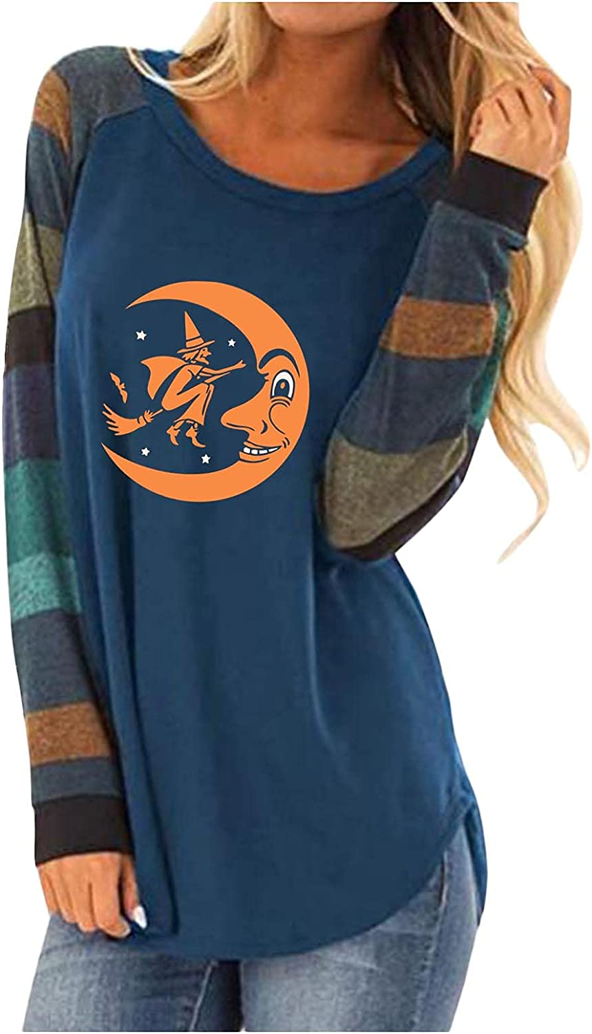 felwors Halloween Costumes for Women,Womens Colorblock Crewneck Halloween Print Vintage Long Sleeve T-Shirts Casual Tops