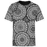 AQzxdc Camisa de manga corta para hombre, diseño de mandala con flores, estilo informal, unisex, de verano, 3D, de secado rápido, casual, de moda, mandala I, L