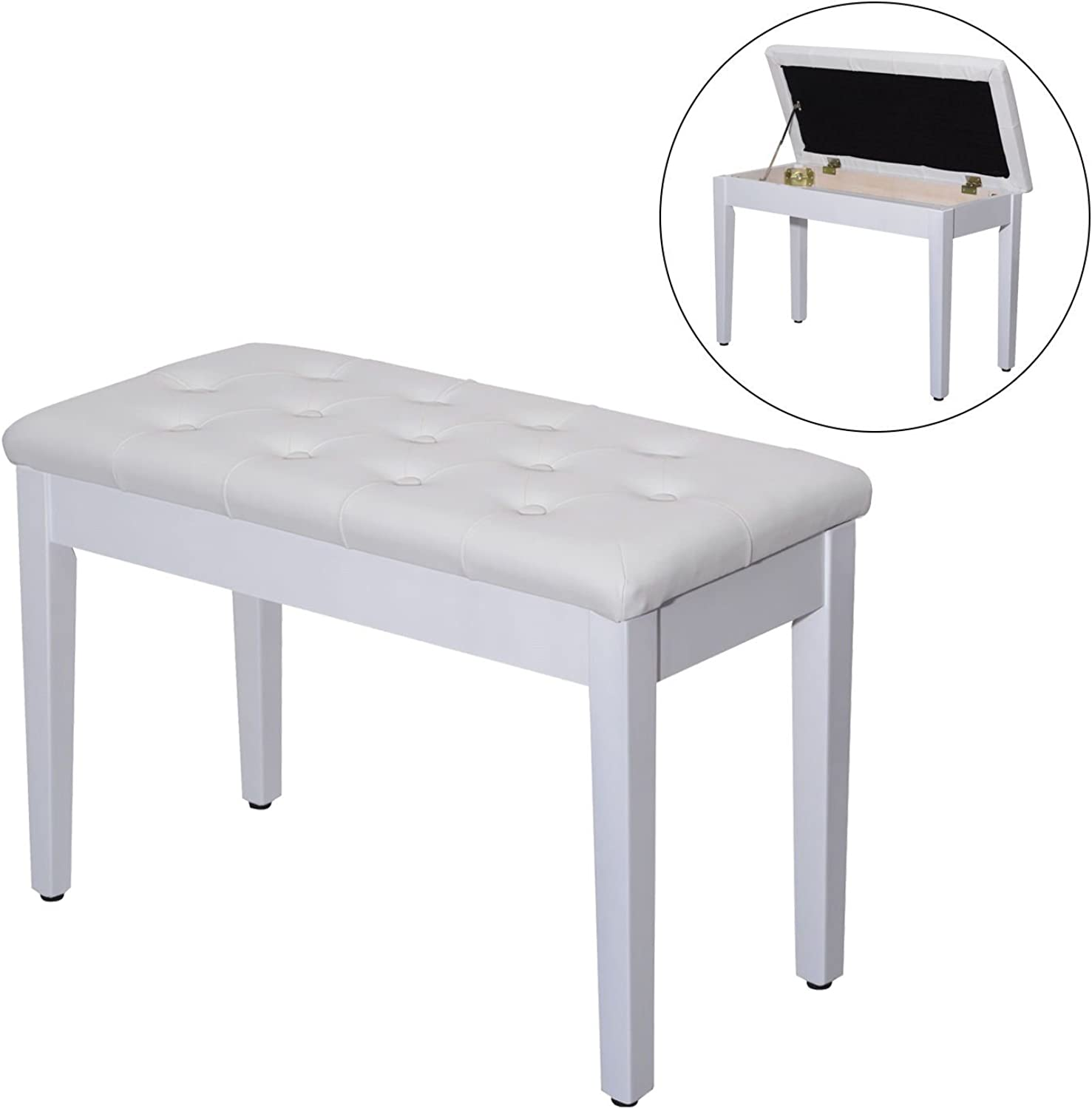 Leather Padded Piano Bench w Storage Double Duet Seating Keyboard White