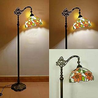 Tiffany Sun flower vintage Salon Lampadaire avec interrupteur Rétro Bureau Lampe Sur Pied chambre Ø30CM Ombre ajustable Ab...