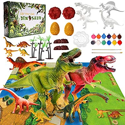 Dinosaur Painting Kits Toys for Kids Arts and Crafts Toys Supplies Your Dinosaur Fun DIY Gift for Easter & Christmas, Party Favors, Paint Your Own Dinosaur World for Boys Girls Age 4 5 6 7 8 Years Old