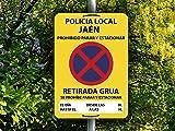 Oedim Señal Personalizada Prohibido Parar y Estacionar Se Avisa Grúa, Fabricado en Polipropileno, Duradera y Económica
