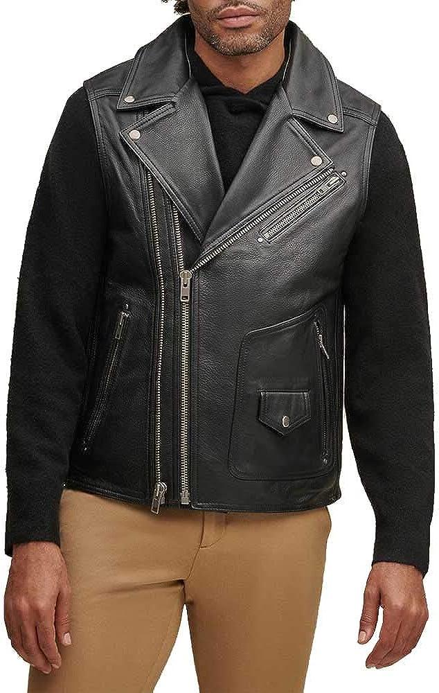 Men's Genuine Cowhide Natural Grain Leather Vest Club Wear Leather Vest