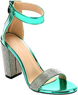 ARIES Womens Ankle Strap Chunky Block High Heel Sandals Cute high Heels