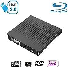 Xglysmyc USB3.0 External 3D Blu Ray DVD Drive,Super Slim Portable Blu Ray CD DVD Drive Burner Player CD/DVD+/-RW Writer Reader Compatible with Laptop Desktop Mac OS,Windows XP/7/8/10(Black)