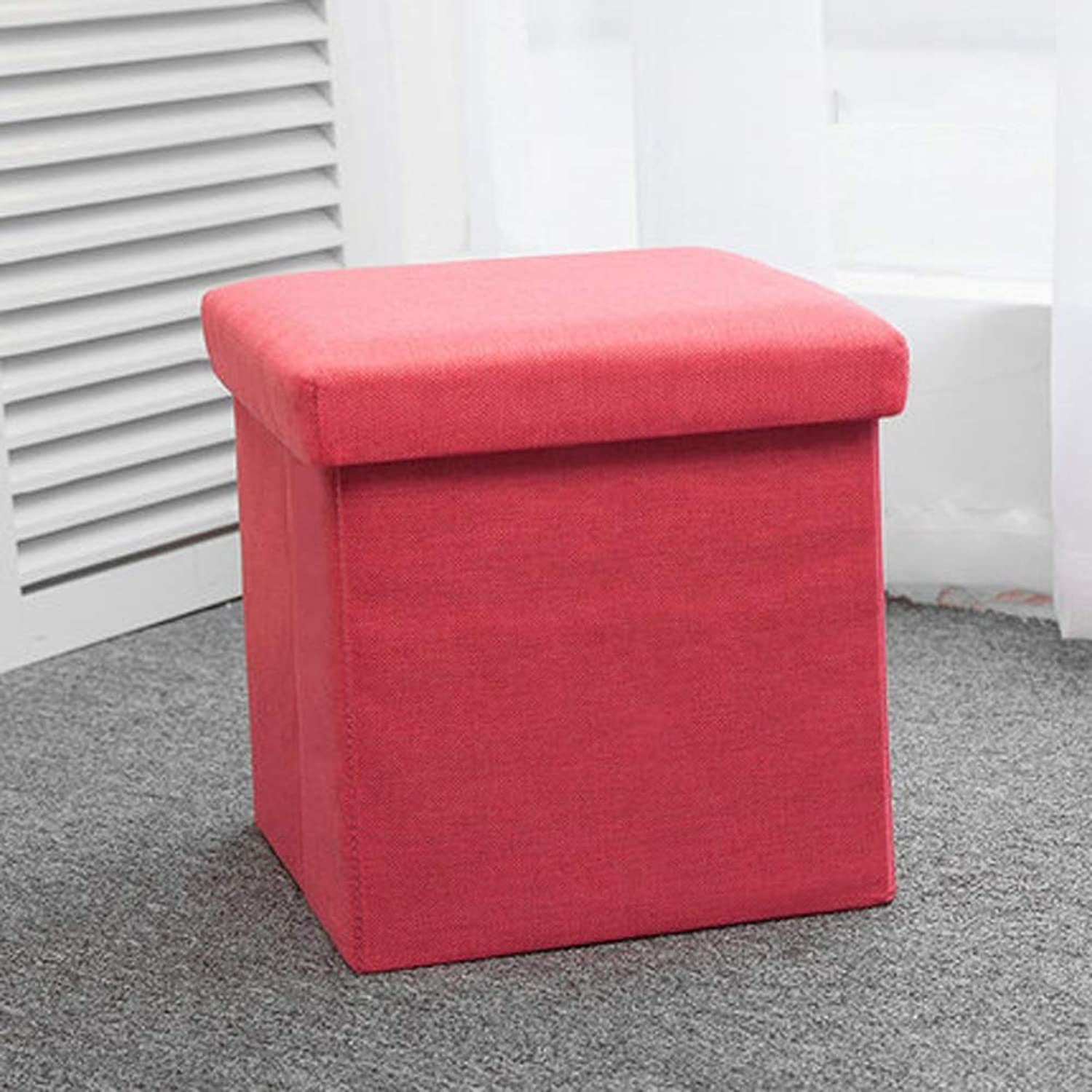 AINIYF Multi-Functional Storage Stool, Adult Sofa Stool Folding Fabric Storage Box shoes Bench Household - Load-Bearing, Can Sit and Store, Plain, Simple, Wild (color   Red, Size   M)