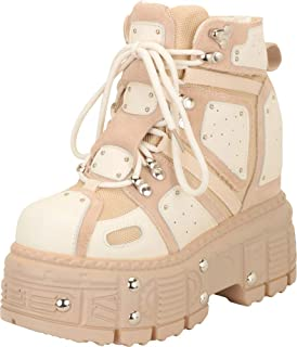 Cambridge Select Women's Retro 90s Studded Colorblock Rave Lace-Up Chunky Platform High Hidden Wedge Fashion Sneaker