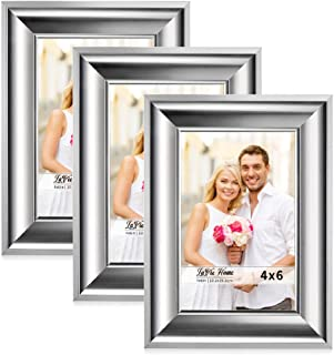 LaVie Home 4x6 Picture Frames(3 Pack,Silver) Photo Frame Set with High Definition Glass for Wall Mount & Table Top Display, Set of 3 Alice Collection