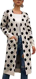 Women Knitted Dot Print Long Sleeve Loose Open Front Cardigan Coat