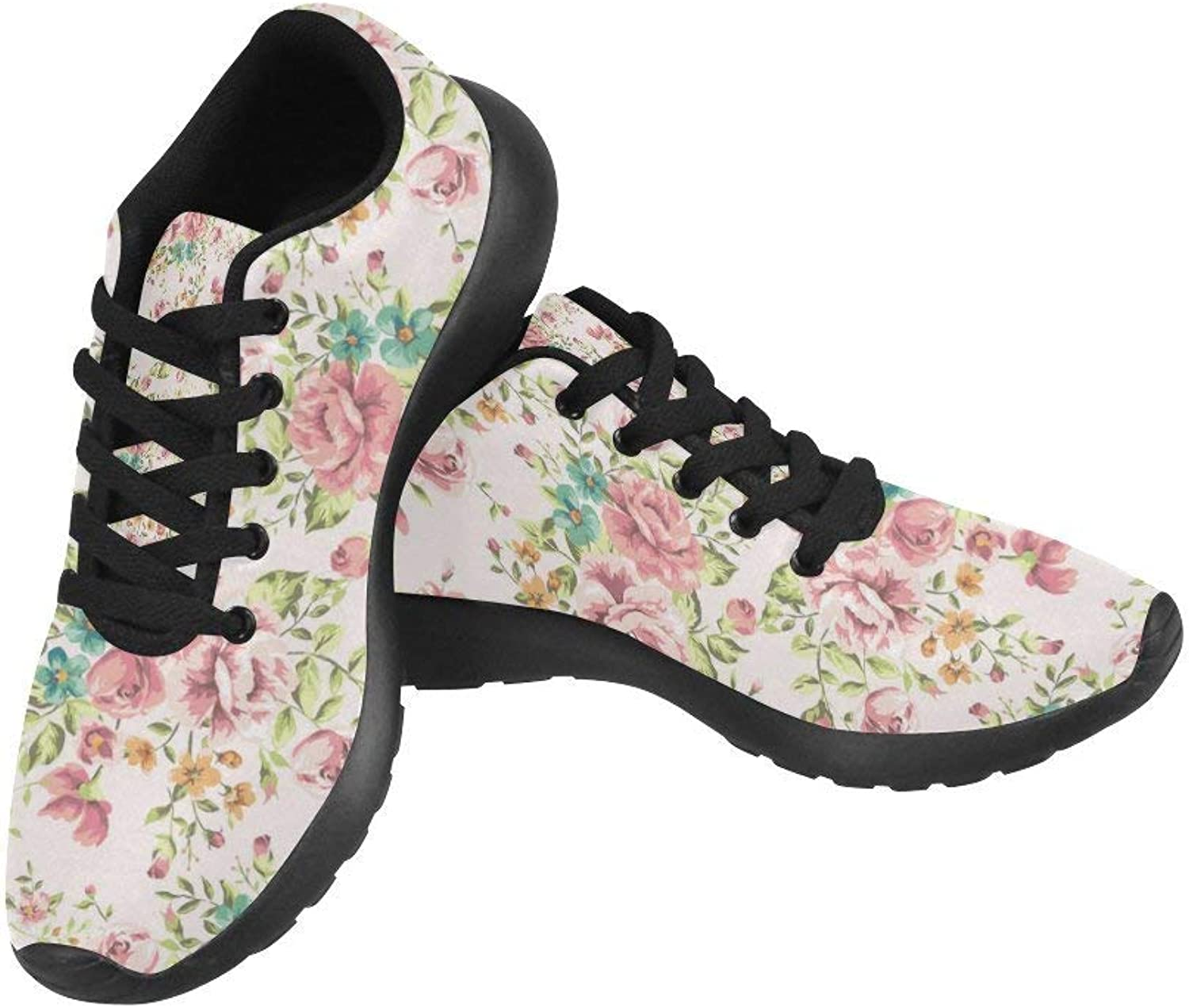 InterestPrint Classic Vintage Flower Pattern Print on Women's Running shoes Casual Lightweight Athletic Sneakers US Size 6-15
