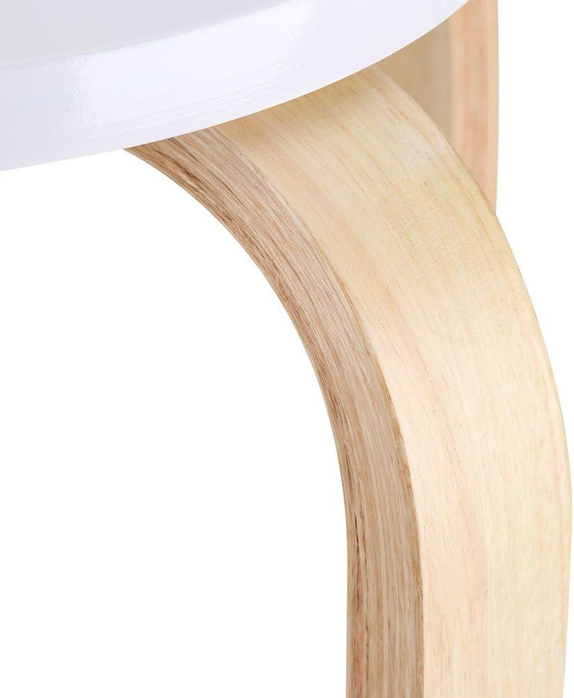 Stool Tabouret pour chambre /à coucher blanc maison 45,5 x 30 cm SOULONG Lot de 2 tabourets ronds empilables en bois salle de bain chaise de douche
