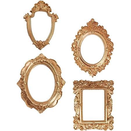 PRETYZOOM 4 cornici portafoto vintage dorate antiche da appendere alla parete, decorazione per la casa delle vacanze di Natale