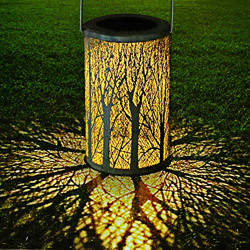 LED Solar Lantern Outdoor, GolWof Decorative Hanging Garden Lantern Cylindrical Lamp Night Light IP44 Waterproof with Photosensitivity for Porch/ Lawn/ Courtyard/ Walkway/ Driveway Christmas etc