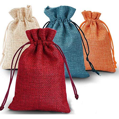 O-Kinee Adventskalender zum Befüllen, 24er Set Jutesäckchen Stoffbeutel Jutebeutel Geschenksäckchen Weihnachten, für Weihnachtskalender DIY, 10cm x 14cm (Rot)