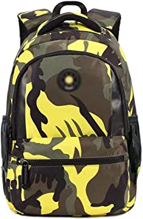 XHHWZB Camouflage Printed Primary School Nylon Backpack - Ideal for 1-6 Grade School Students Boys Girls Daily Use and Outdoor Activities (Color : Yellow, Size : Small)