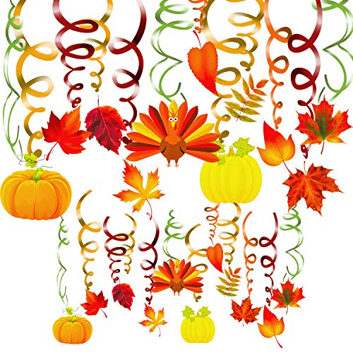 40 Pack Thanksgiving Hanging Swirls Decorations Autumn Swirls Ceiling Streamers Assorted Fall Maple Pumpkin Turkey Hanging Ceiling Decorations