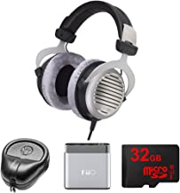beyerdynamic DT 990 Premium Headphones 250 OHM (481807) with Slappa HardBody Headphone Case, FiiO A1 Portable Headphone Amplifier (Silver) & 32GB MicroSD High-Speed Memory Card