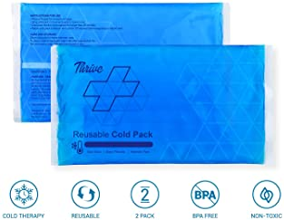 Reusable Crystal Blue Gel Ice Cold Pack Compress - (2 Pack) - Reusable Vinyl Provides Instant Pain Relief, Rehabilita...