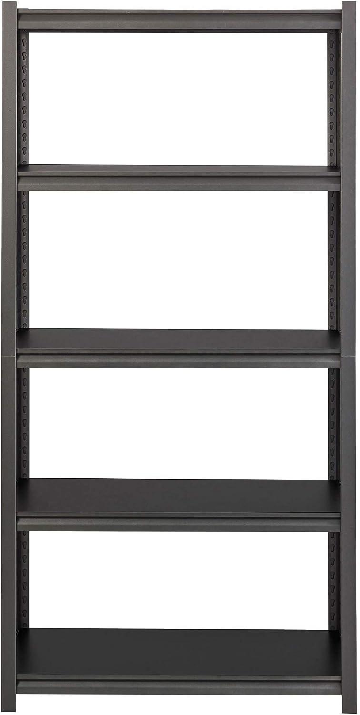 Lorell LLR59701 3,200 lb Capacity Riveted Steel Shelving Storage Rack, Black