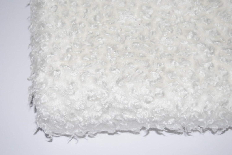 Celloexpress Curly Animal Fur  Milk White 4m (400cm x 150cm)  15mm Pile Teddy Bear & Soft Toy Making Fabric Fur
