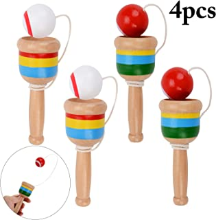 Wooden Ball in A Cup Game Catch Ball Games, B bangcool Cup Ball Game Mini Wood Toy Hand Eye Coordination Educational Toys (4Pcs)