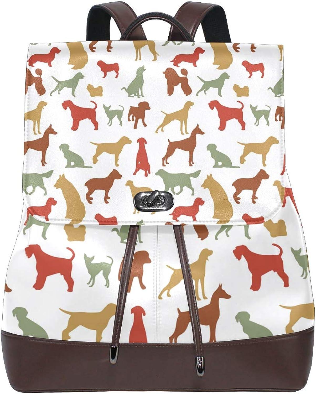 FAJRO colorful Dog Pattern Pug Travel Backpack Leather Handbag School Pack