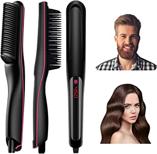 Anviky Beard Straightener for Men,Ionic Beard Straightener Comb with Anti-Scald Feature,Fast Heat hair straightener Brush for Women,Portable for Home and Travel