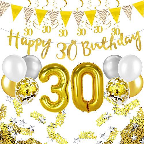 Humairc 30 ans anniversaire blanc or décorations, 30e HAPPY BIRTHDAY bannière Triangle drapeau 6pcs Chiffre suspendu tourbillon, Ballon Chiffre 30, 8pcs Ballons Confetti - Homme femme