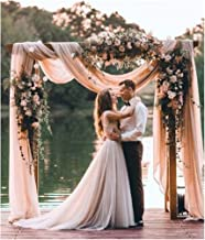 Chiffon Sheer Curtain Drape 9.8ftx10ft Wedding Panel Backdrop Light Peach Birthday Backdrops for Photography