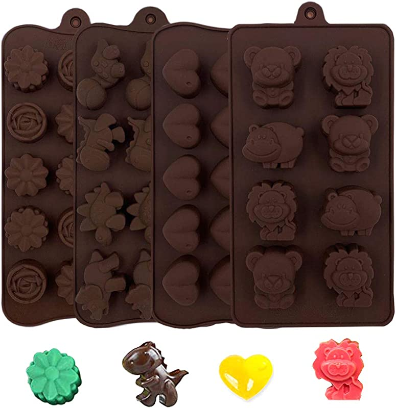 Silicone Molds 4pcs Chocolate Molds Candy Molds Baking Molds Non Stick Gummy Mold Ice Cube Soap Molds