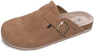 Unisex Boston Soft Footbed Clog Cow Suede Leather Clogs, Cork Clogs Shoes for Women Men