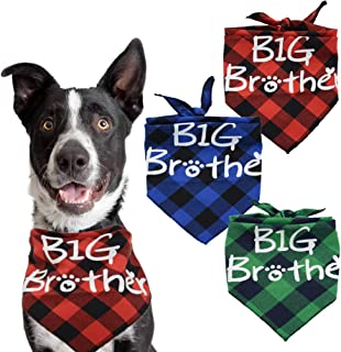 Busypaws Big Brother Dog Bandanas Plaid Reversible Triangle Bibs Pet Scarf Accessories