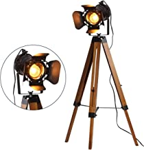 Focolux Vintage Tripod Floor Lamp Black,Industrial Searchlight Table Lights,Wood Stand Studio Desk Spotlight Home Decor,Creative Nautical Hollwood Movie Lighting Fixture,Cinema Studio Props No bulbs