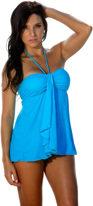 bluee Sky Swimwear Ocean Jewel  Turquoise Drape Front TankiniSize  L