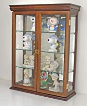 Solid Wood Tuscan Style Wall Curio Cabinet, Stand or Wall Mount, 19.75