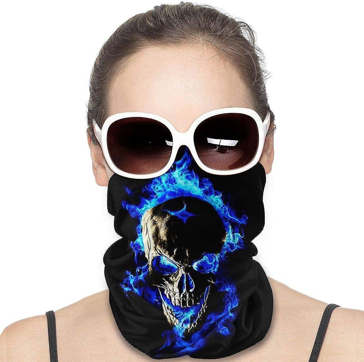 JinSPef Bandana Face Mask - Blue Flame Skull Fire Motorcycle Mask Neck Gaiter Face Scarf Head Bands Neck Warmer Men Headbands Sun Mask