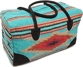 Mission Del Rey Southwest Go West Travel Bag -Weekender Duffle Bag, Hand Woven Rug Bag w/Leather Handles -El Paso Saddle Blanket