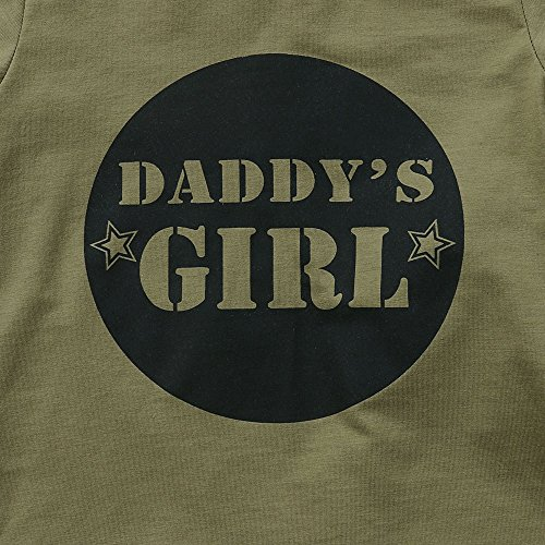 2 Styles Daddy's Baby Boy Girl Camouflage Short Sleeve T-Shirt Tops+Green Long Pants Outfit Casual Outfit (12-18 Months, Baby Girl)
