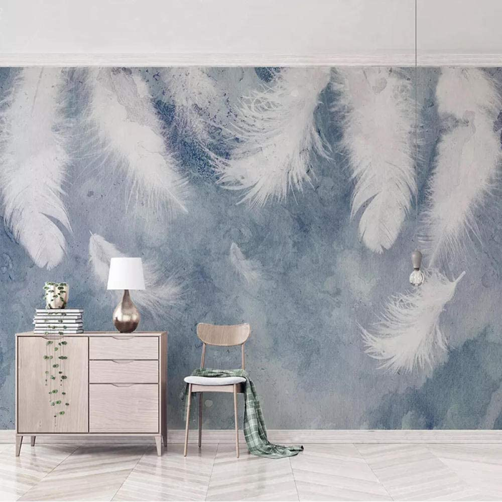 Custom Columbus Mall Photo Mural Spasm price 3D Wallpaper Ink Hand Painted Wal Art Feather