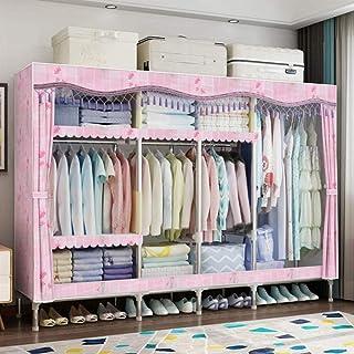 JLKDF Armoires en Tissu HWG Armoire de Placard Portable Armoires Bon marché avec 4 tringles à vêtements, 7 étagères utilis...