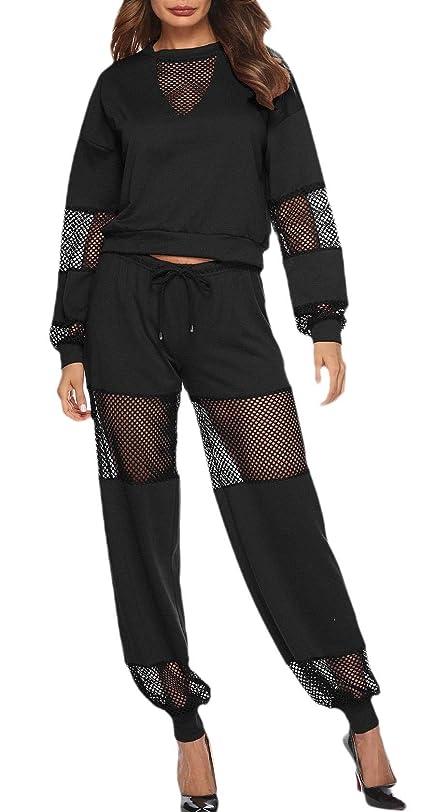 達成柔らかさ十億Women Casual Two Piece Mesh See Through Top and Pants Set Outfits