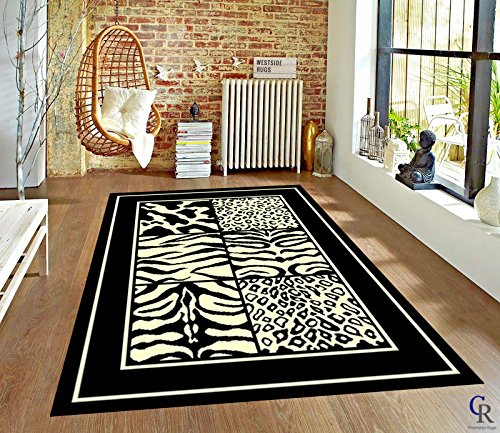 "Champion Rugs Modern Animal Print Skin Zebra Squares Safari Bordered African Theme Area Rug (3' 11"" X 5' 2"")"