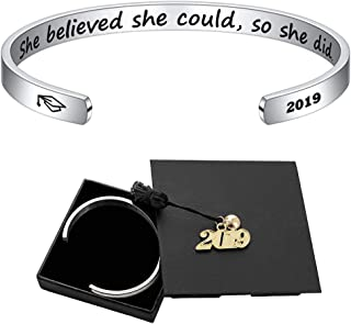 M MOOHAM Inspirational Graduation Gifts Cuff Bracelet - Engraved Inspirational Bracelet Cuff Bangle with 2019 Graduation Grad Cap, Mantra Quote Keep Going Bracelet Graduation Friendship Gifts for Her