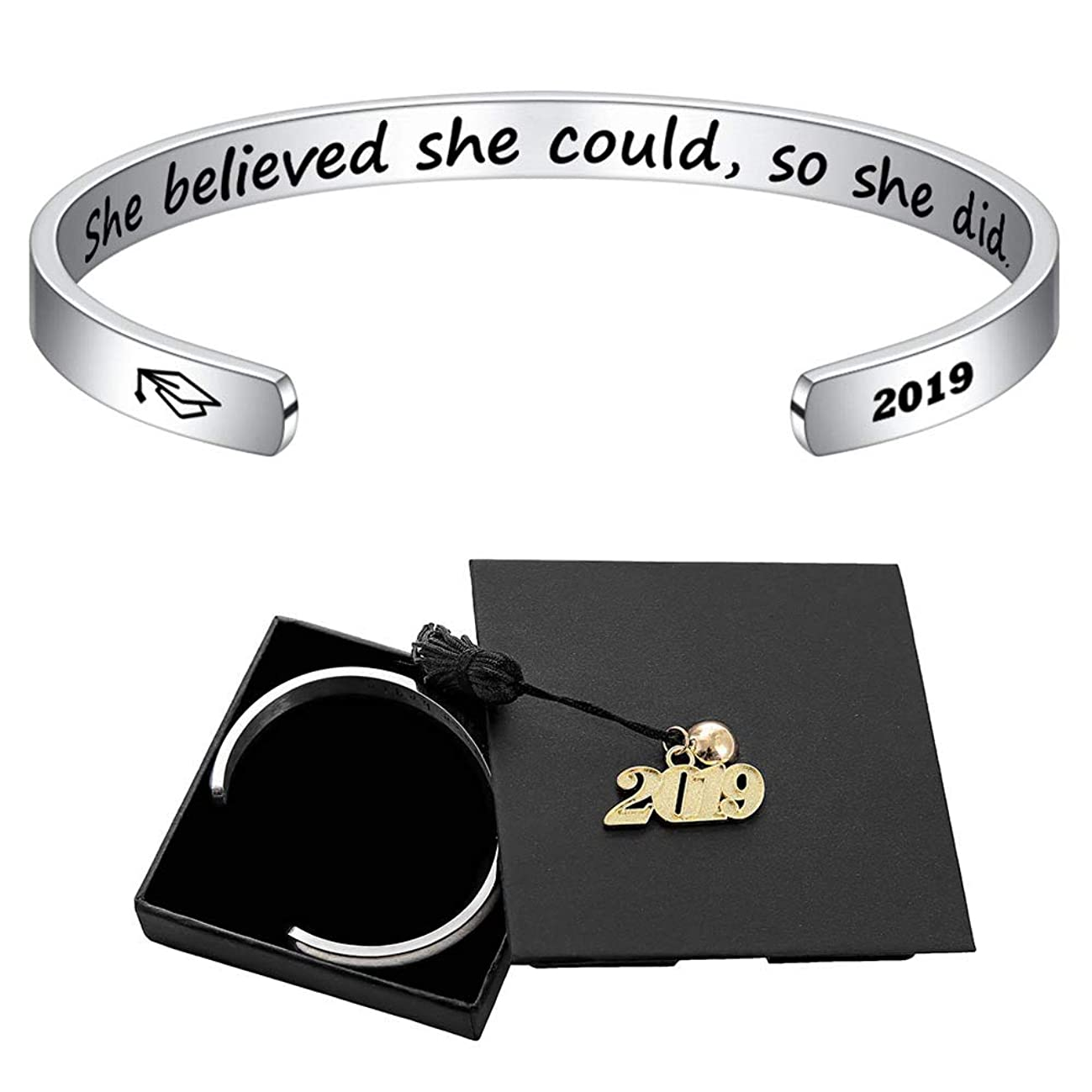 M MOOHAM Inspirational Graduation Gifts Cuff Bracelet - Engraved Inspirational Bracelet Cuff Bangle with 2019 Graduation Grad Cap, Mantra Quote Keep Going Bracelet Graduation Friendship Gifts for Her