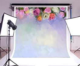 CdHBH 5x5ft Vinyl Photography Backdrop Oil Painting White Red and Yellow Roses Flowers Watercolor Painting Blurry Wallpaper Romantic Valentines Mother's Day Background Children Birthay Party Decor