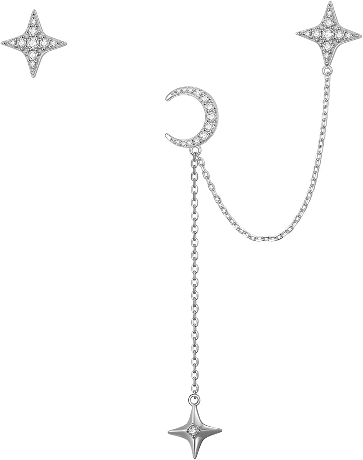 925 Long Beach Mall Sterling Inventory cleanup selling sale Silver Chain Earrings Cuff for Star Women