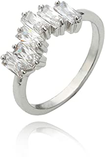 Gnzoe Jewelry-1 Pcs Gold Plated Ring for Women Girl Irregular Cubic Zirconia Wedding Bands Ring